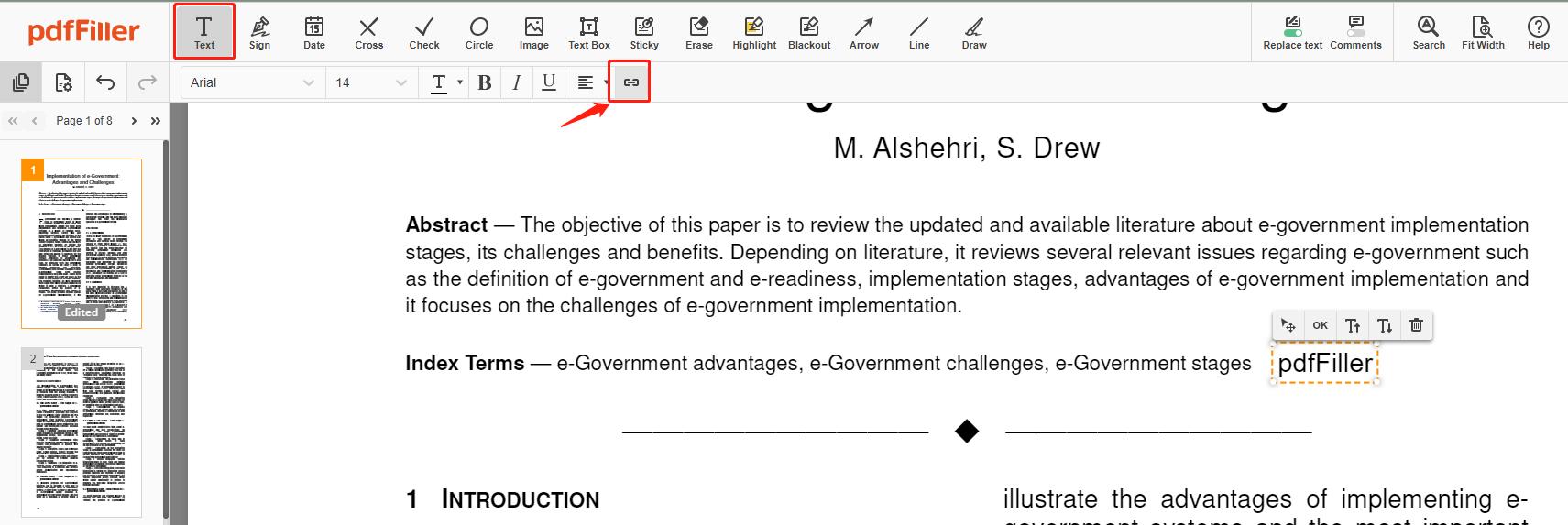 pdffiller-add-link